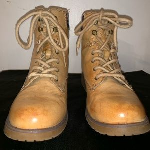 Tan Rampage Combat Boots With Plaid Fabric Trim